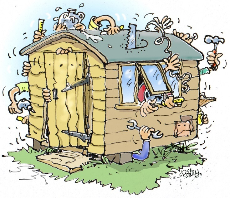 cartoon by rupert besley of work being done in the shed