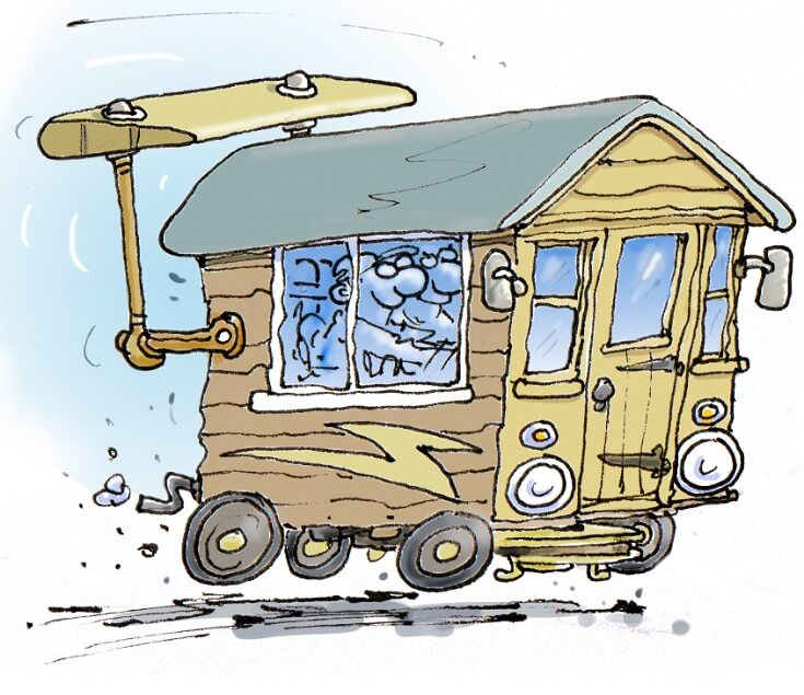 cartoon by rupert besley of the shed converted to a car and being driven