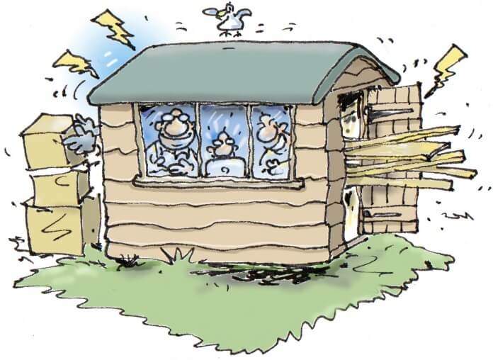 cartoon of the west wight shed by rupert besley